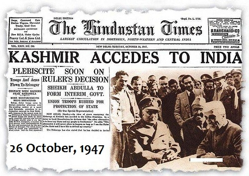 Jammu Kashmir acceded to India on 26 October 1947. Period.