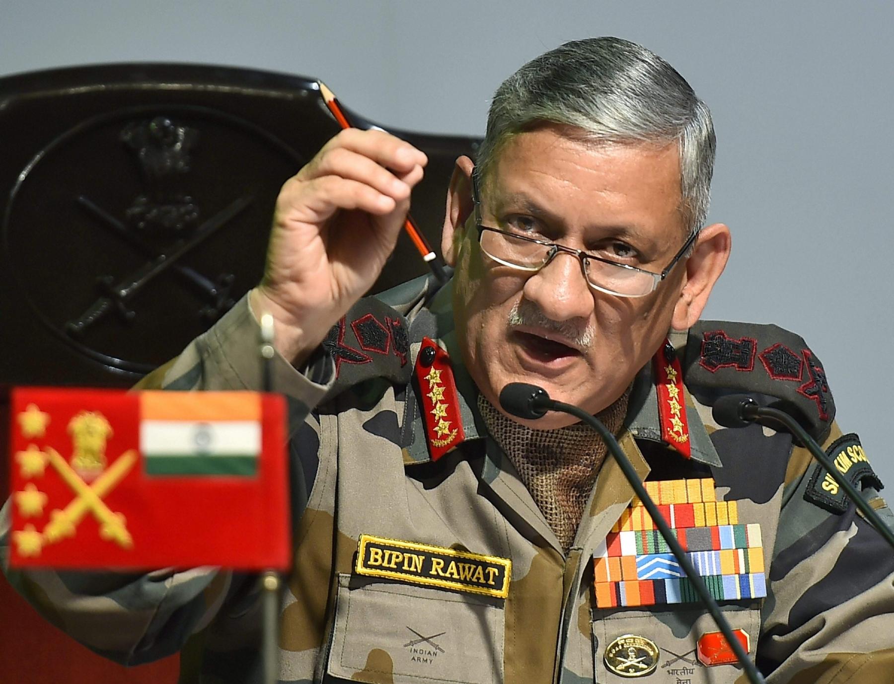 आतंकवाद नहीं रुकने तक जारी रहेगी भारत की कार्यवाही :- भारतीय सेना प्रमुख जनरल विपिन रावत