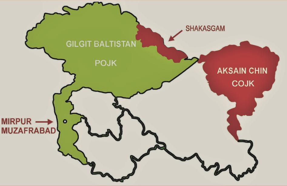 जम्मू-कश्मीर के भू-भाग पर चीन का कब्जा