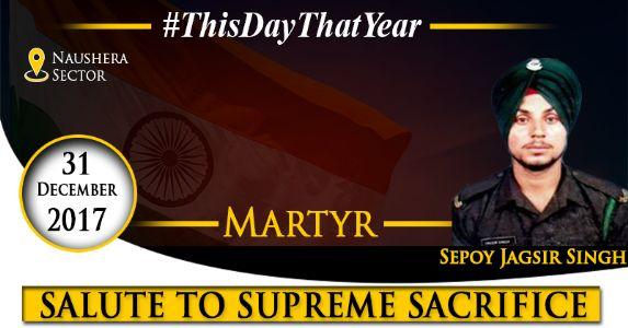 Sepoy Jagsir Singh, who made supreme sacrifice while securing Naushera