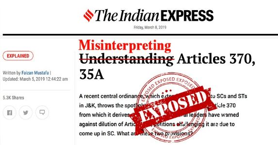 Exposing misinterpretation of Article 370 & 35A by #IndianExpress