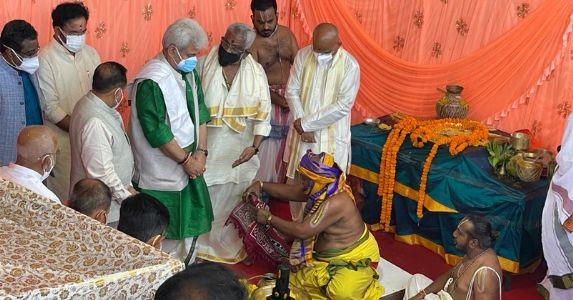 जम्मू में भगवान वेंकटेश्वर स्वामी मंदिर का भूमि पूजन, एलजी मनोज सिन्हा, केंद्रीय मंत्री जी किशन और डॉ. जितेंद्र सिंह ने रखी आधारशिला